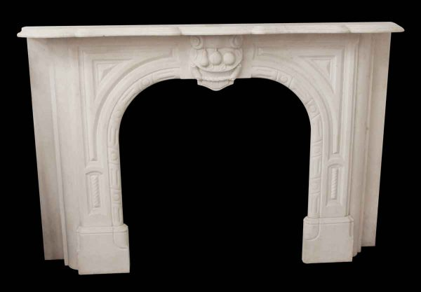 Mantels - Traditional White Marble Carved Mantel