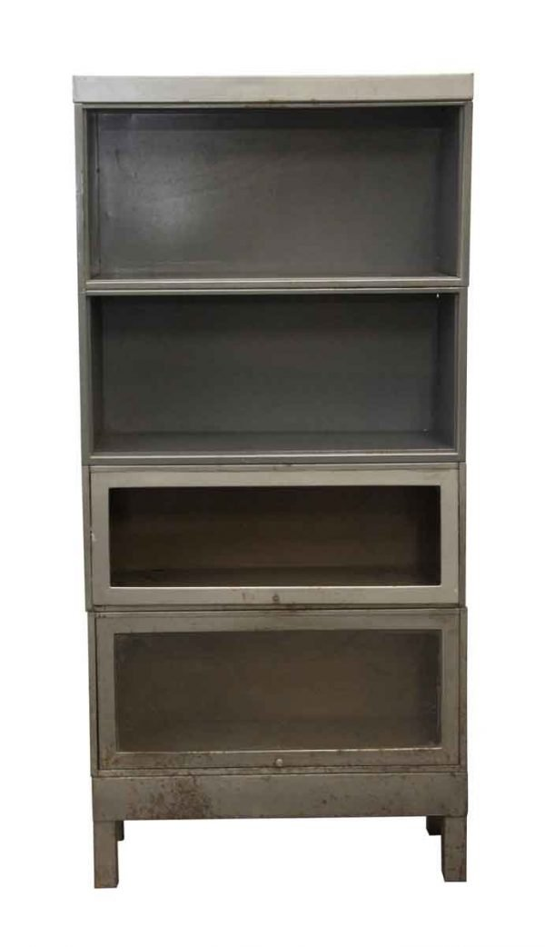 Office Furniture - Gray Metal 4 Section Cabinet