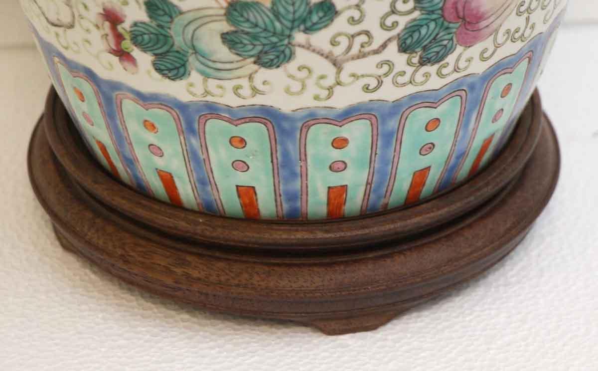 Oriental Ceramic Floral Vase With Wooden Base Olde Good