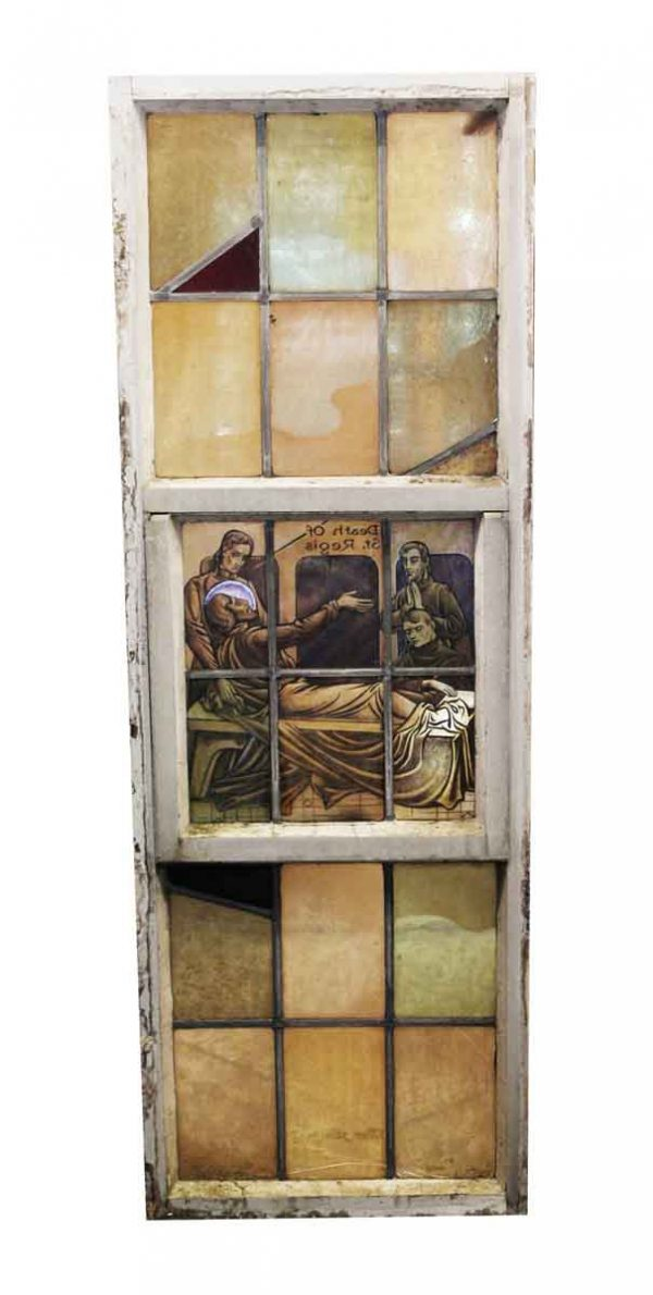 Religious Stained Glass - Stained Glass Death of St. Regis Window with Aluminum Frame