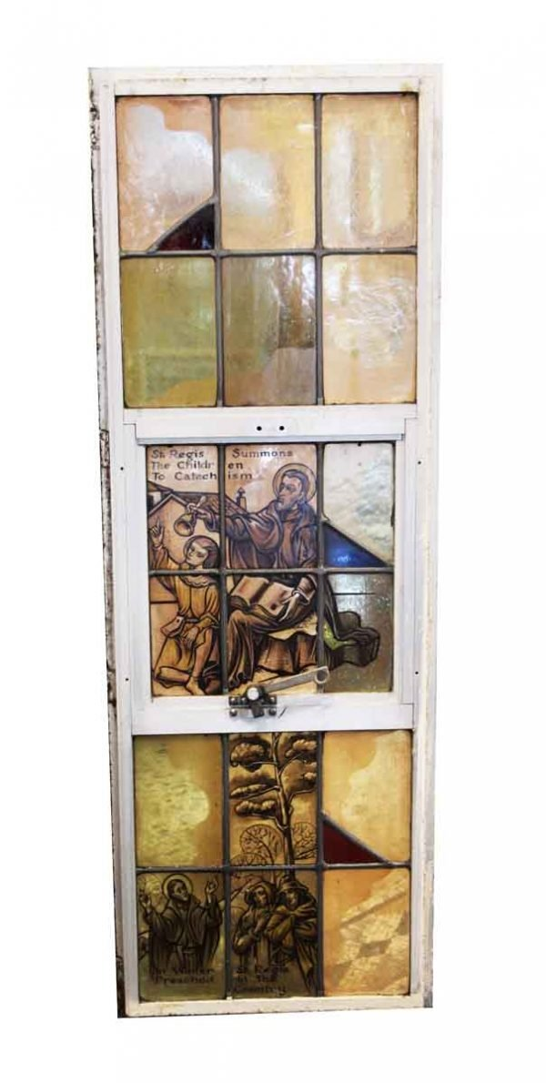 Religious Stained Glass - Stained Glass St. Regis Summons & Preaches Aluminum Framed Window