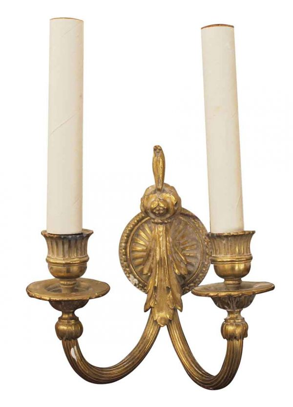 Sconces & Wall Lighting - Antique Single Cast Brass Two Arm Sconce