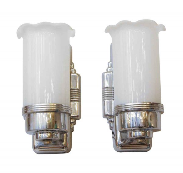 Sconces & Wall Lighting - Pair of Art Deco Sconces with White Glass Shades
