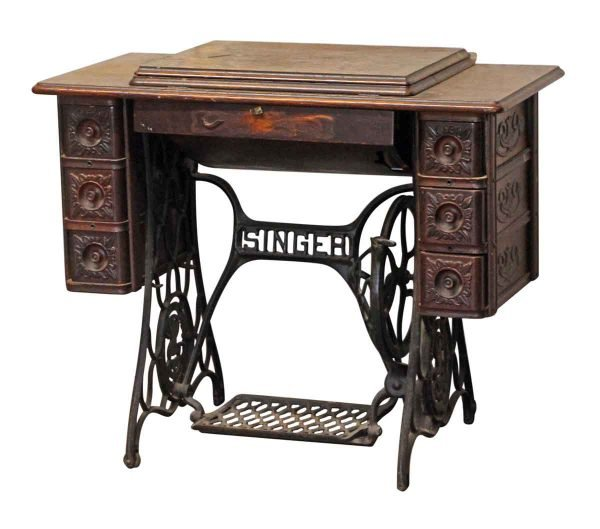 Sewing Machines - Singer Sewing Table with Carved Decorative Details