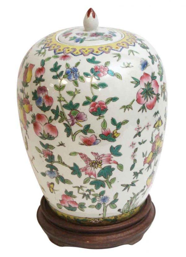 Vases & Urns - Ceramic Asian Vase with Wooden Base