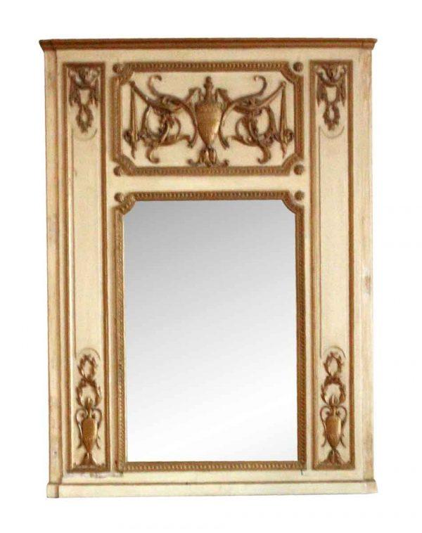 Waldorf Astoria - Antique Carved Urn Motif Wooden Overmantel Mirror