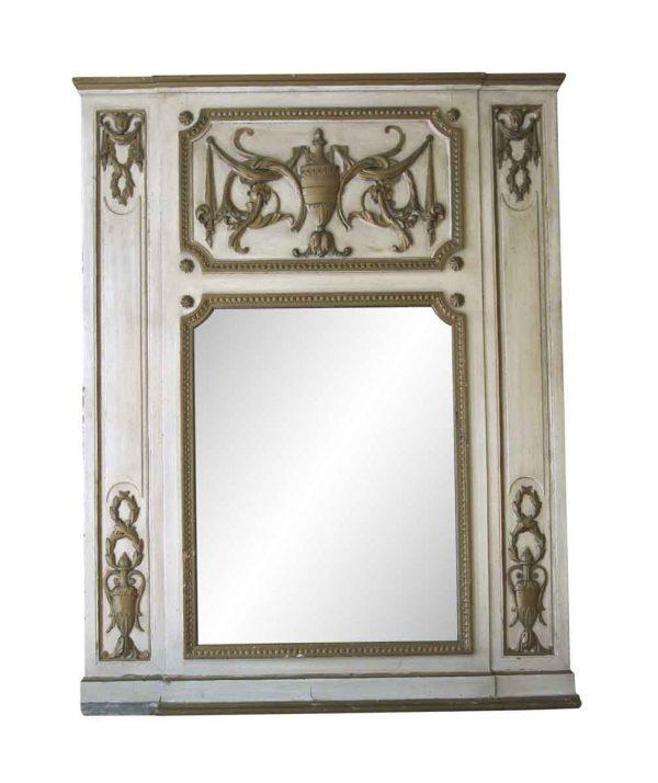 Waldorf Astoria - Waldorf Astoria Carved Tan Wooden Overmantel Mirror
