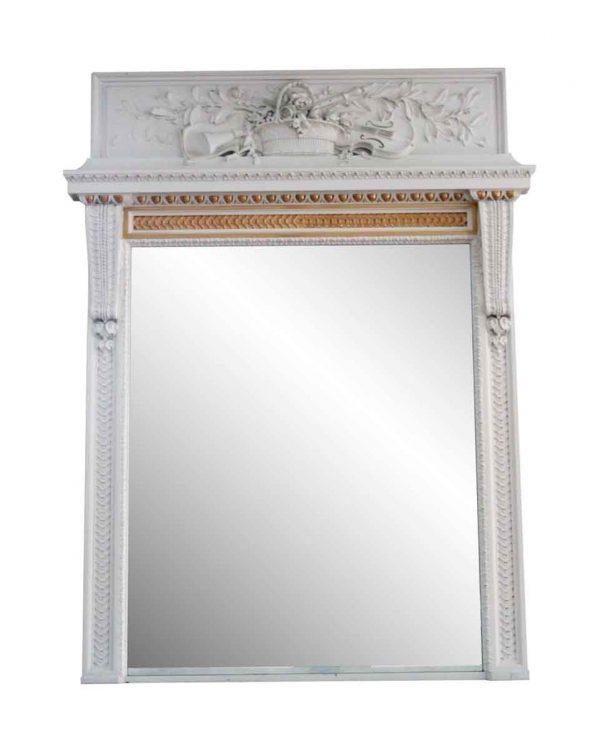 Waldorf Astoria - Waldorf Astoria Carved White Wooden Overmantel Mirror