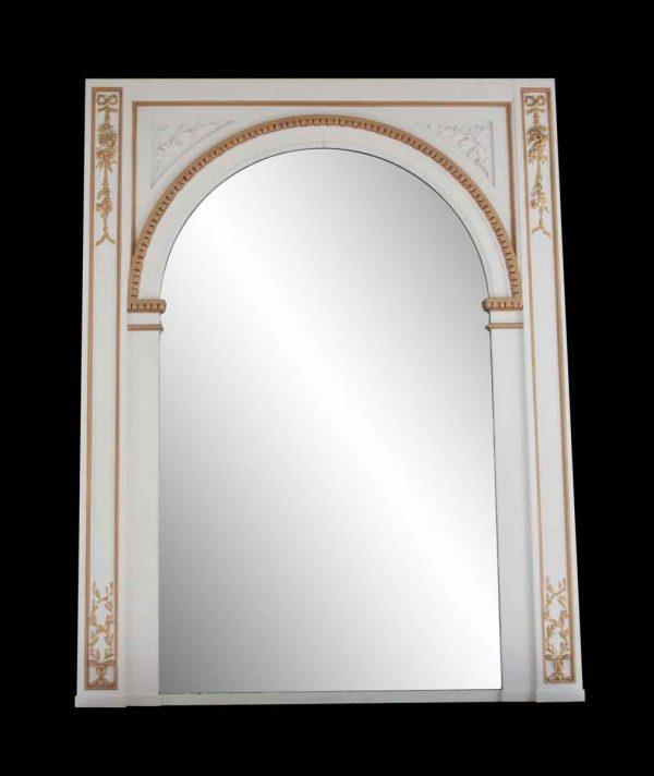 Waldorf Astoria - Waldorf Astoria White Ovemantel Mirror with Carved Gold Detail