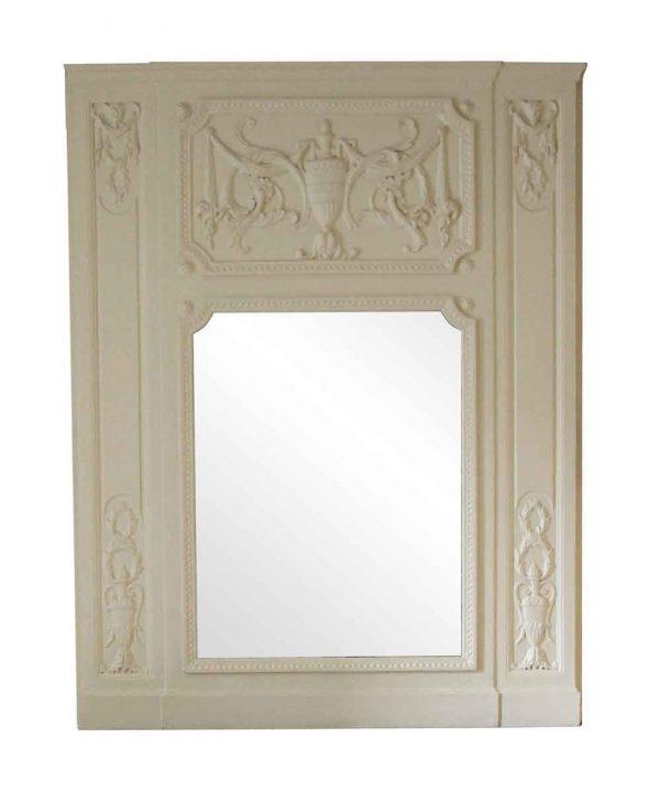 Waldorf Astoria - Waldorf Carved White Wooden Urn Motif Overmantel Mirror