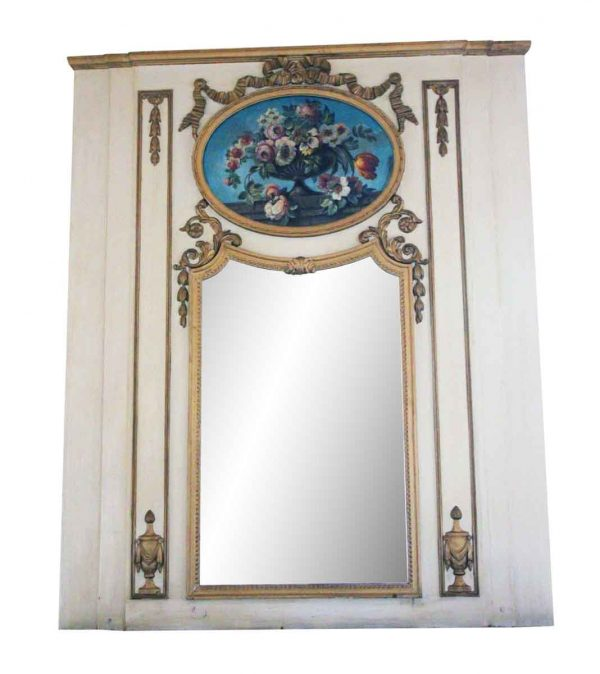 Waldorf Astoria - Waldorf White Overmantel Mirror with Floral Details