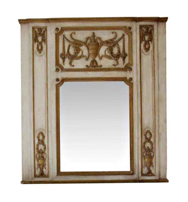 Waldorf Astoria - White & Gold Urn Motif Carved Wooden Overmantel Mirror