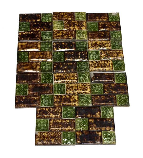 Wall Tiles - Antique Brown Raised Relief Tile Set