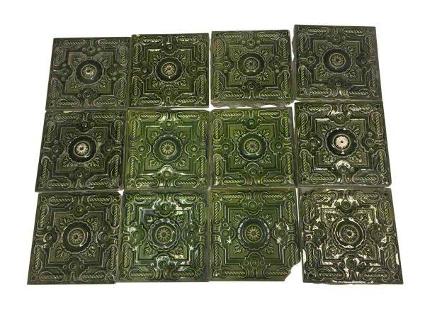 Wall Tiles - Antique Green Decorative Raised Tile Set