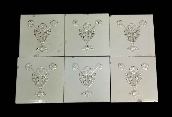 Wall Tiles - Antique White Floral Tile Set with Gold Detail