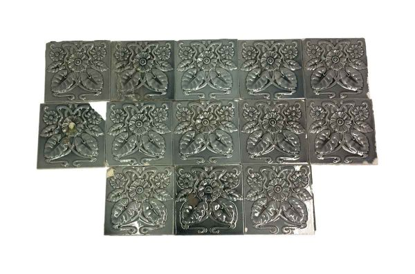 Wall Tiles - Gray Art Nouveau Daisy Raised Wall Tile Set