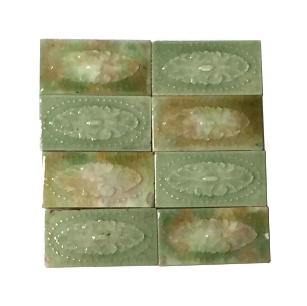 Wall Tiles - Set of 8 Green 4.25 in. Floral Tiles
