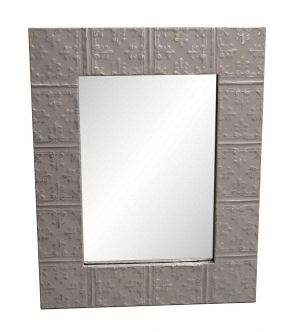 Antique Tin Mirrors - Proper Gray Tin Mirror with Mini Fleur De Lis Details