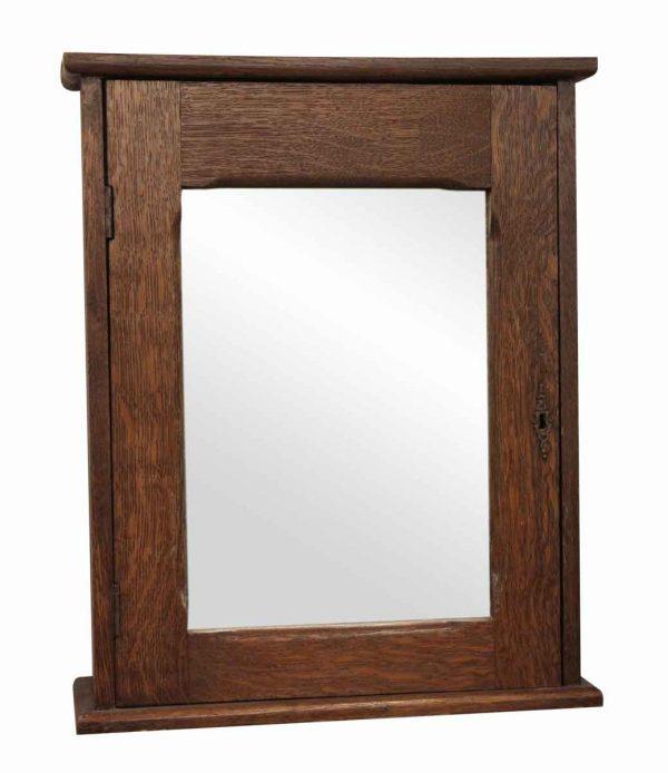 Bathroom - Antique Oak Wall Medicine Cabinet with Mirror & Key
