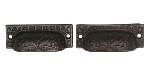 Cabinet & Furniture Pulls - Pair of Cast Iron Decorative Bin Pulls