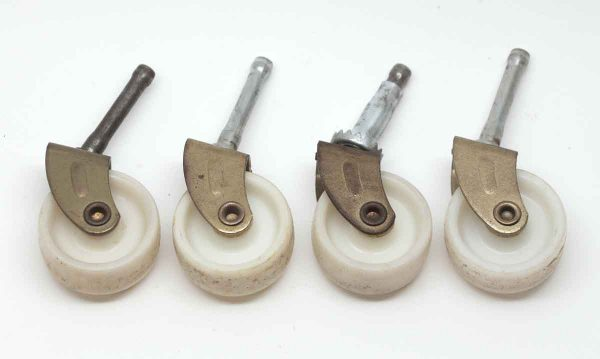 Casters - Set of 4 Brass Plated Steel & White Plastic Caster Wheels