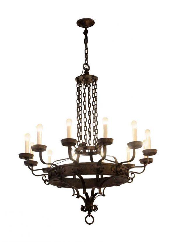 Chandeliers - 12 Light Wrought Iron Arts & Crafts Chandelier