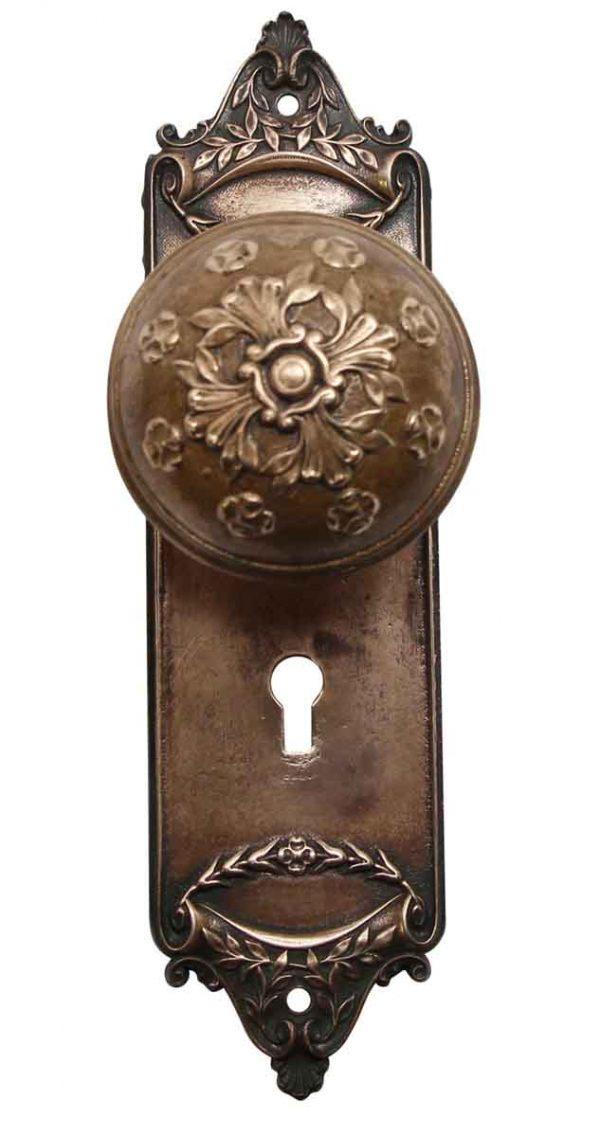 Door Knob Sets - Brass Antique Entry Norwalk Door Knob & Fairfield Plate Set