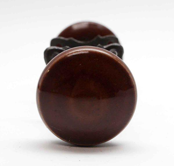 Door Knob Sets - Brown Ceramic Door Knob Set with Cast Iron Rosettes