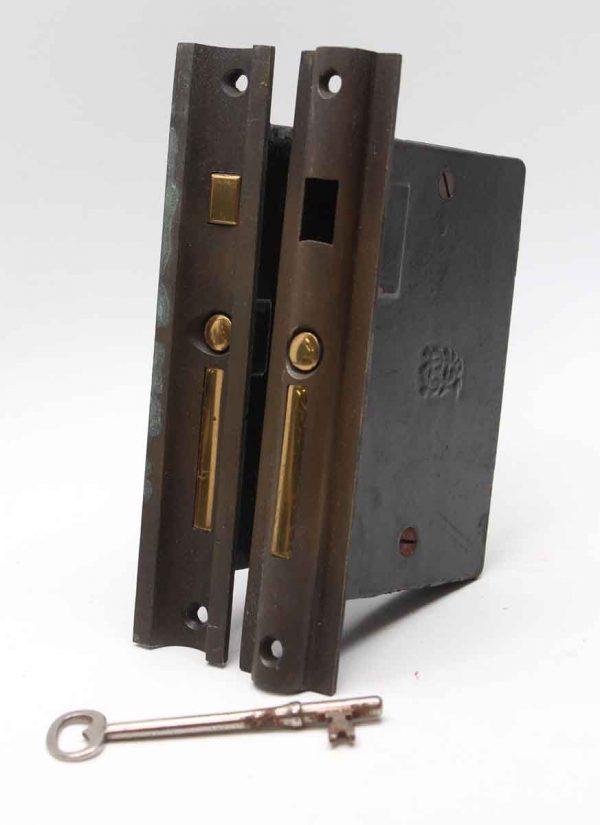 Door Locks - 6.75 in. H Cast Iron & Brass Pocket Door Mortise Lock Set