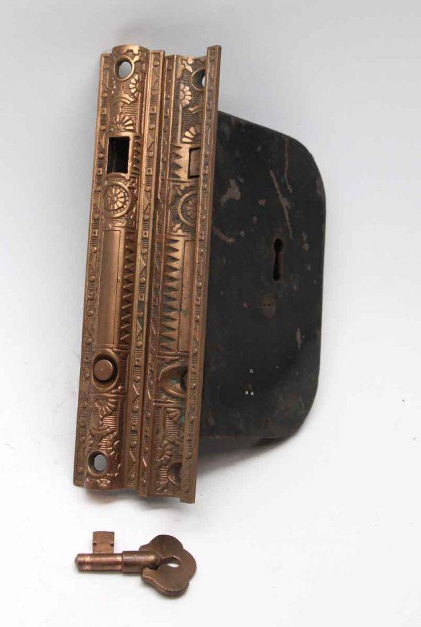 Door Locks - 7.5 in. H Cast Iron Pocket Door Mortise Lock Set