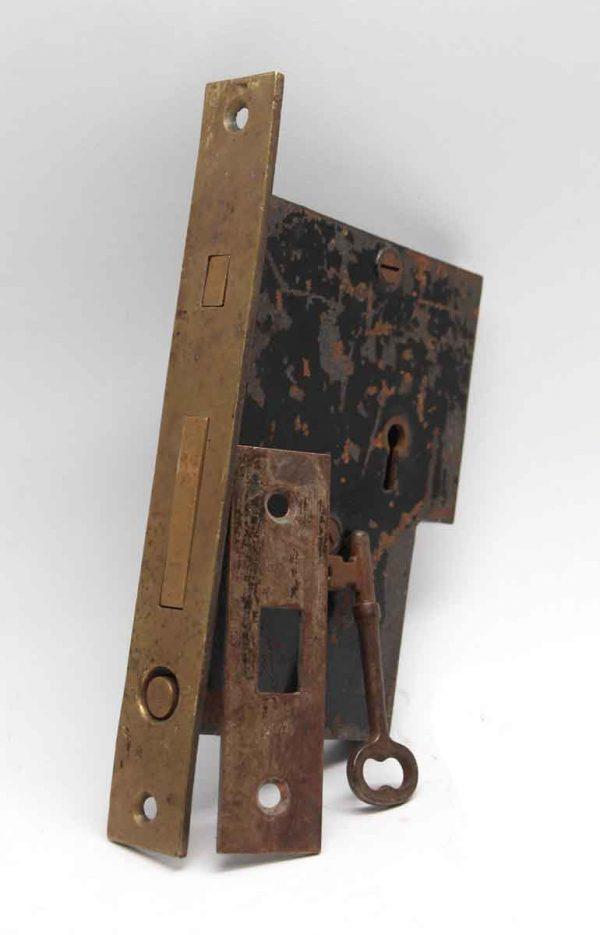 Door Locks - 7.5 in. H Sargent Cast Iron & Brass Pocket Door Mortise Lock