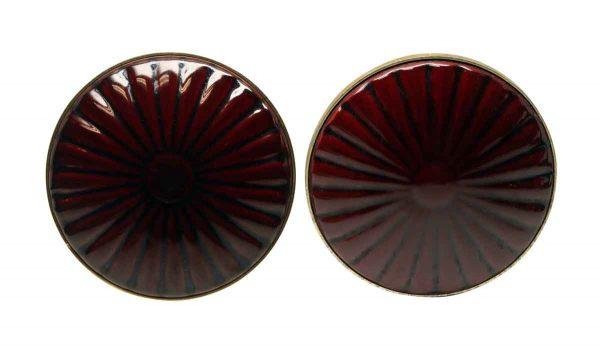 Door Pulls - Red Porcelain & Brass Pair of Door Pulls
