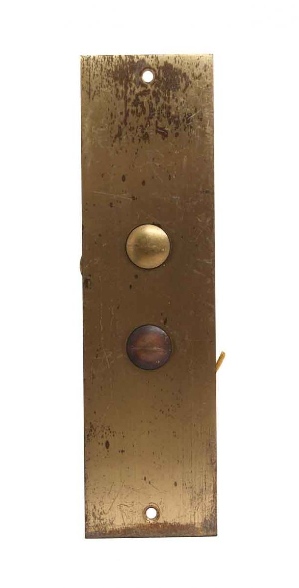 Elevator Hardware - 2 Button Brass Elevator Plate
