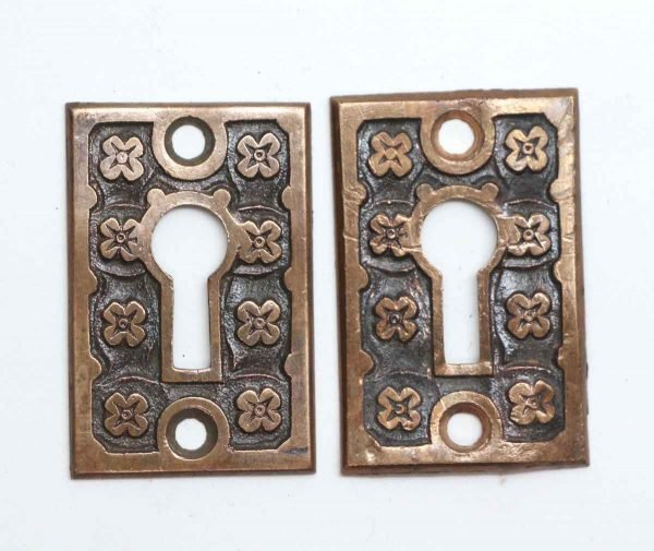 Keyhole Covers - Pair of Brass Antique Keyhole Covers