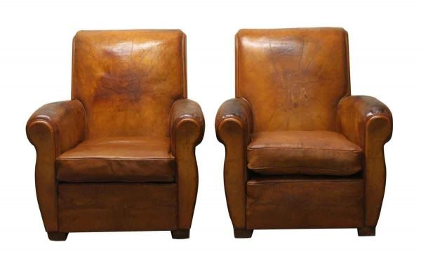 Living Room - Pair of Club Chairs Made of Leather