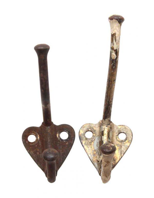 Single Hooks - Cast Iron 2.625 in. Vintage Pair of Wall Hooks
