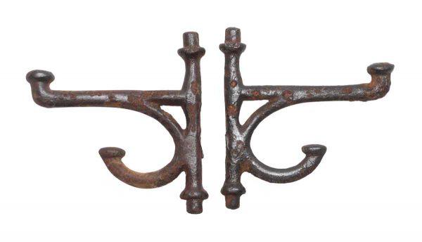Single Hooks - Cast Iron Antique Pair of Hooks