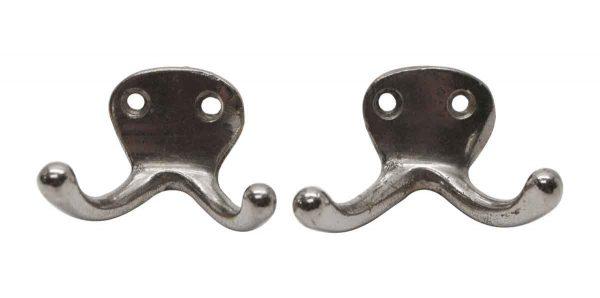 Single Hooks - Pair of 2 Arm 1.375 in. Nickel Plated Wall Hooks