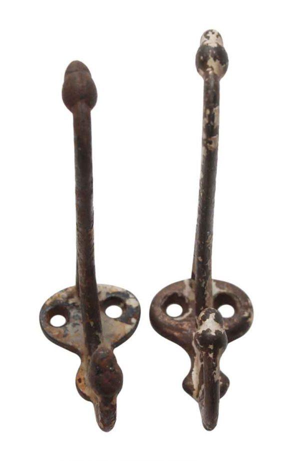 Single Hooks - Pair of Cast Iron Acorn 3 in. Wall Hooks