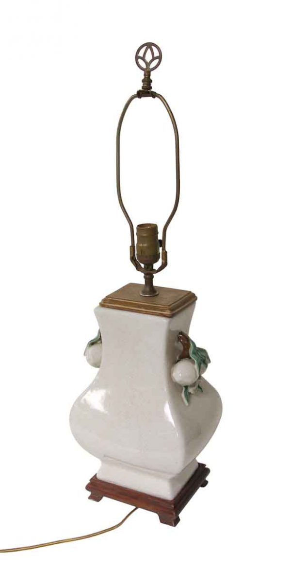 Table Lamps - Floral Ceramic & Wood Table Lamp