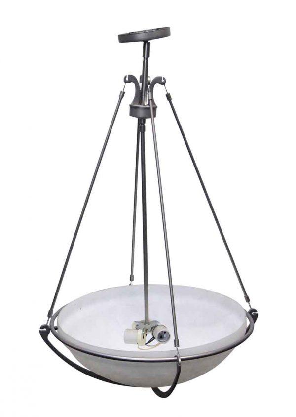 Up Lights - Restored Brushed Steel & Glass Dish Light