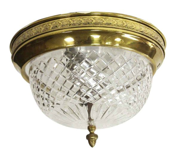 Waldorf Astoria - Waldorf Cut Crystal Flush Mount with Decorative Brass Rim
