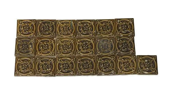 Wall Tiles - 3 x 3 Brown & Tan Decorative Floral Tile Set