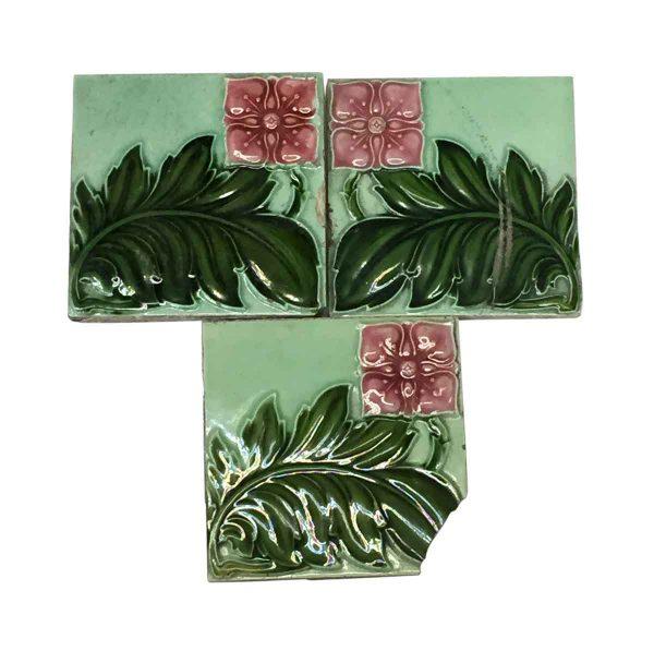 Wall Tiles - Antique Mint Green Art Nouveau Floral Tile Set