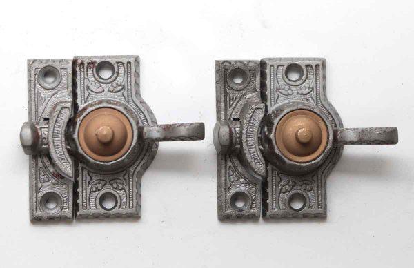 Window Hardware - Pair of Antique Cast Iron & Bronze High Profile Window Locks