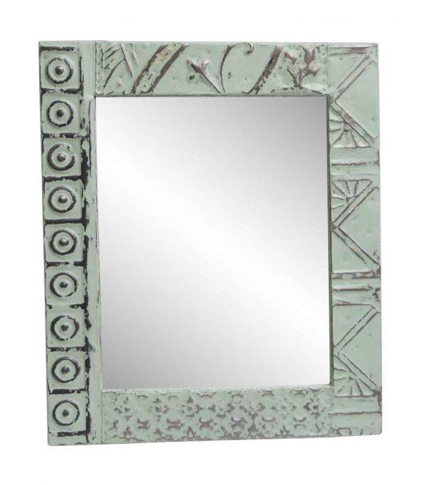 Antique Tin Mirrors - Decorative Green Mixed Pattern Tin Panel Mirror