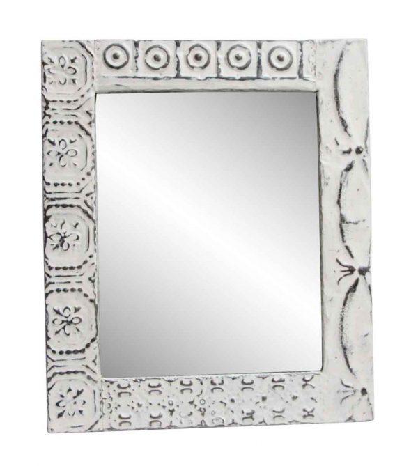 Antique Tin Mirrors - Decorative Mixed Pattern White Antique Tin Mirror