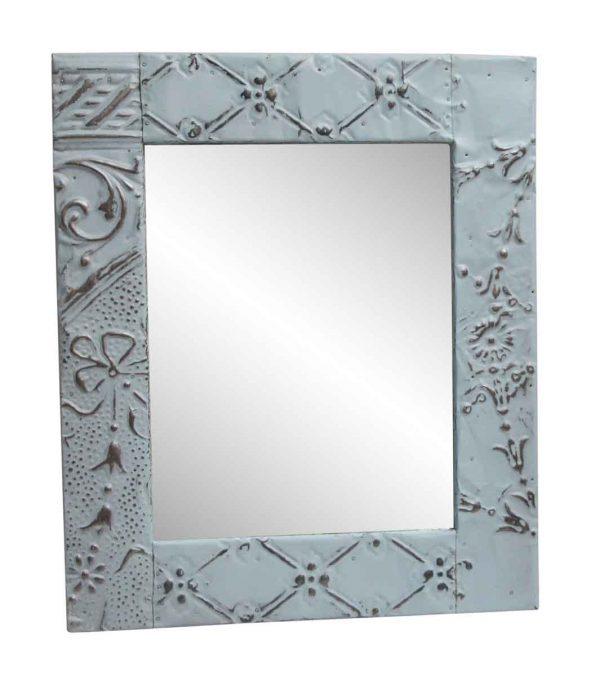 Antique Tin Mirrors - Light Blue Decorative Mixed Pattern Tin Mirror