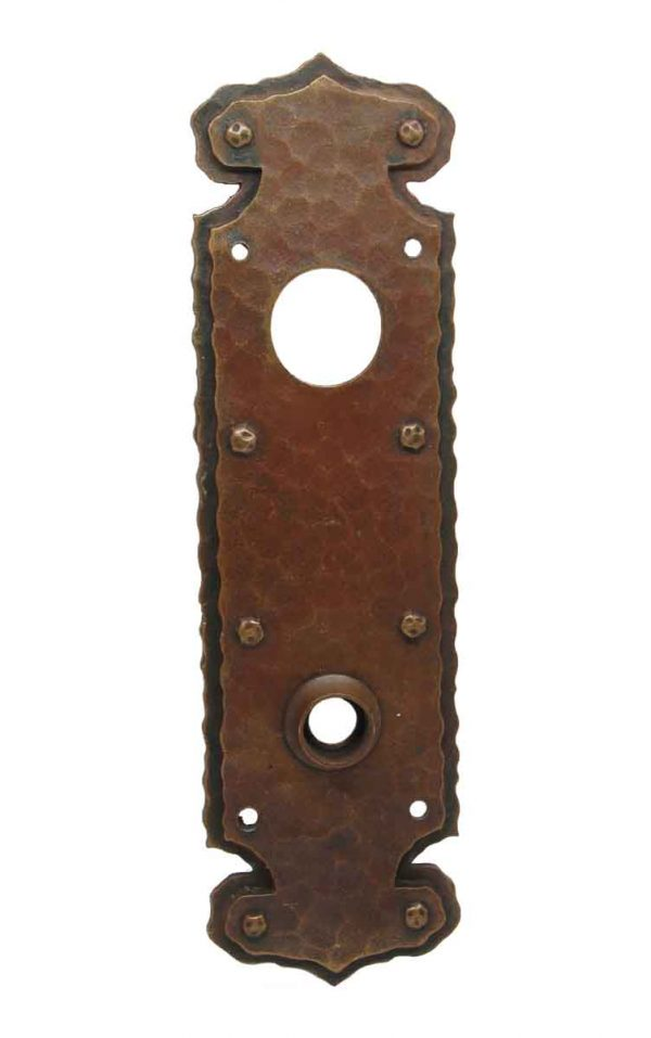 Back Plates - Chantrell Hammered Bronze Arts & Crafts Door Back Plate