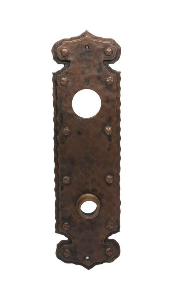 Back Plates - Hammered Arts & Crafts Bronze Door Back Plate